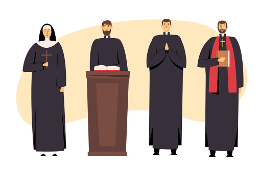 Set of Catholic Christian Staff, Priest Man and Nun Woman in Uniform Holding Cross, Bible and Gospel, Bless Parishioners. Religion, People Serving to God, Catholicism, Cartoon Flat Vector Illustration