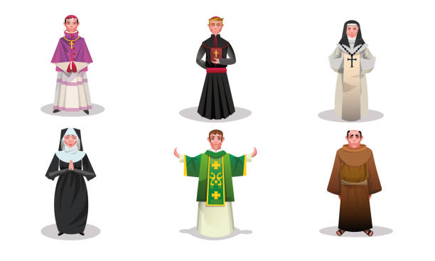Set of catholic priests, monks and nuns characters vector illustration Set of isolated hand drawn catholic priests, monks and nuns characters in special religious clothing over white background vector illustration. Catholicism religious appearance concept friar stock illustrations
