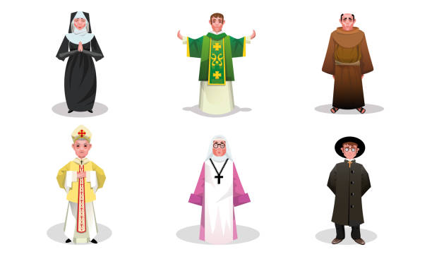 Set of catholic priests, monks and nuns people vector illustration Set of isolated hand drawn catholic priests, monks and nuns in special religious clothing over white background vector illustration. Catholicism religious appearance concept friar stock illustrations