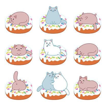 Set of cats and donuts