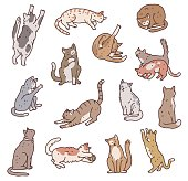 istock Set of cats in different poses. Not pedigreed pets outline doodle isolated vector illustration. 1340781047