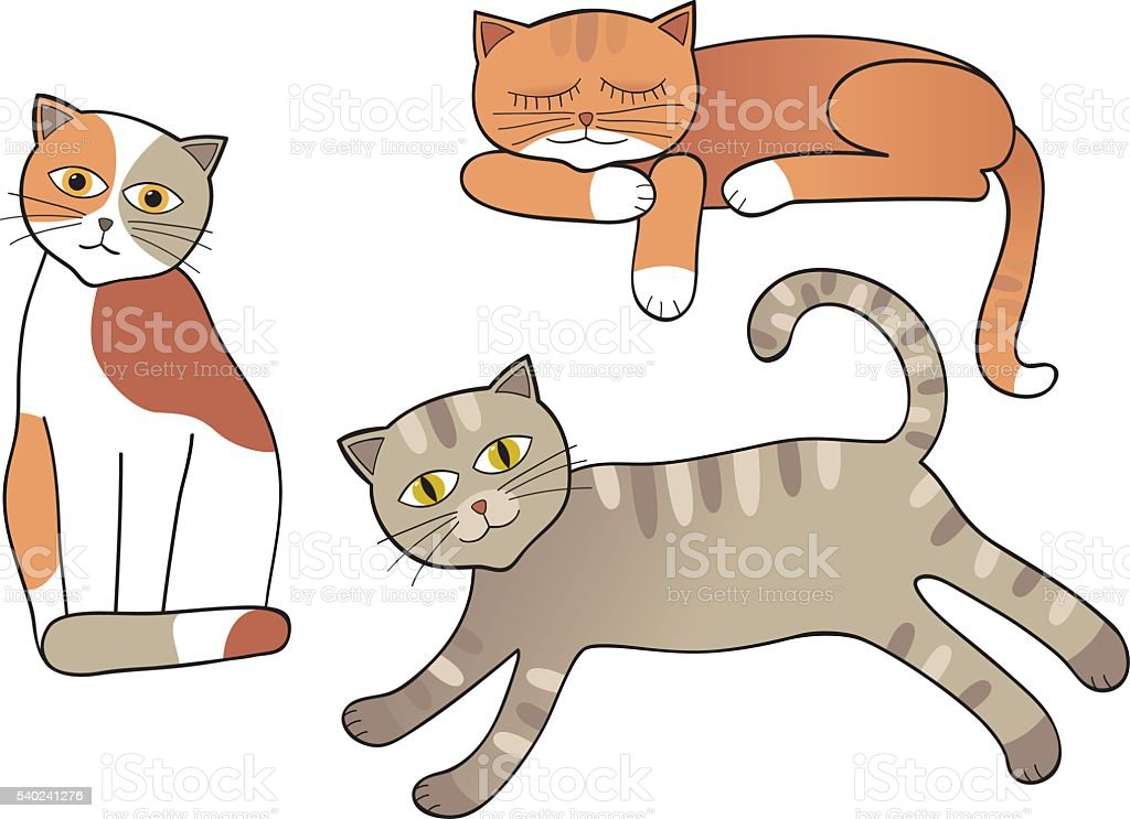 Set of cats isolated vector art illustration