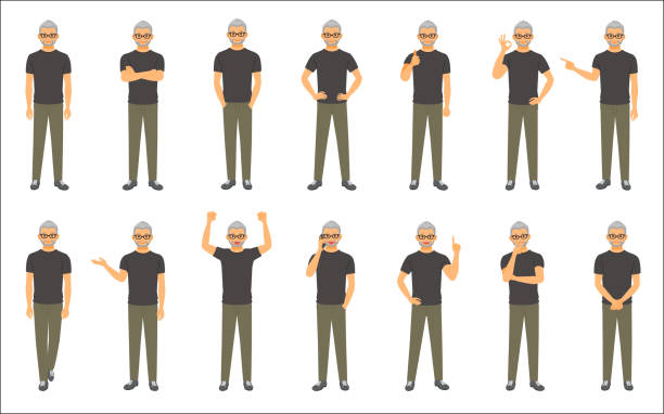 set of causal businessman isolated on white background - old man showing thumbs up cartoons stock illustrations, clip art, cartoons, & icons