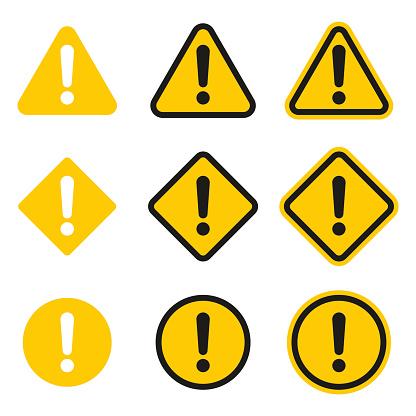 Set of caution icons. Caution sign