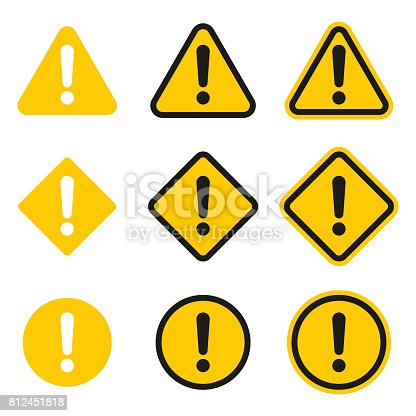 Set of caution icons. Caution sign