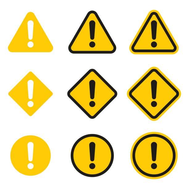 ilustraciones, imágenes clip art, dibujos animados e iconos de stock de conjunto de iconos de precaución. muestra de la precaución - seguridad
