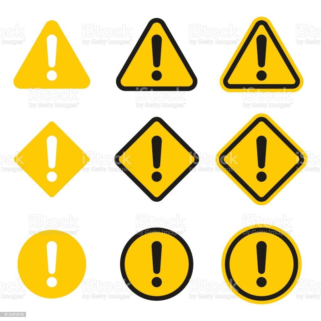 Set of caution icons. Caution sign vector art illustration