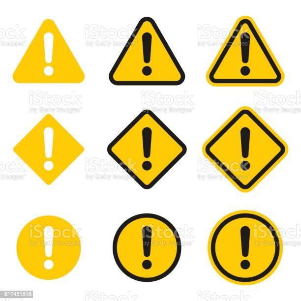 Set Of Caution Icons Caution Sign - Arte vetorial de stock e mais imagens de Acidente - Conceito