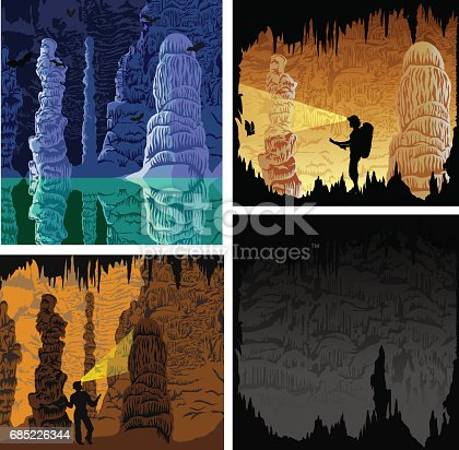 set of cave illustrations