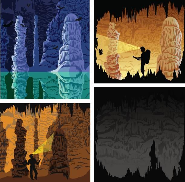 bildbanksillustrationer, clip art samt tecknat material och ikoner med uppsättning av grottan illustrationer - stalagmit