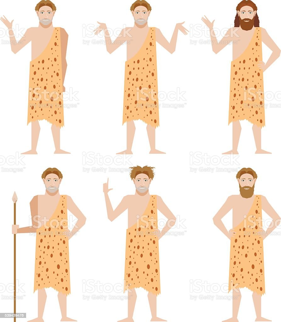 Set of Cavemen vector art illustration