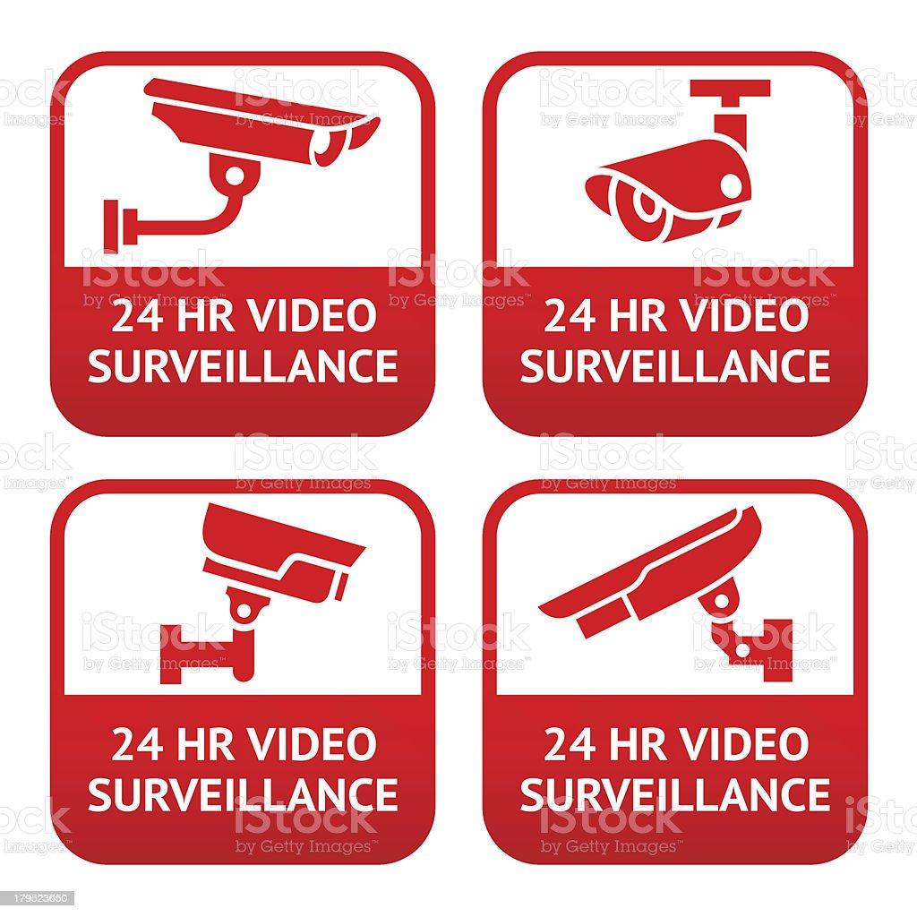 Set of CCTV camera red signs royalty-free stock vector art