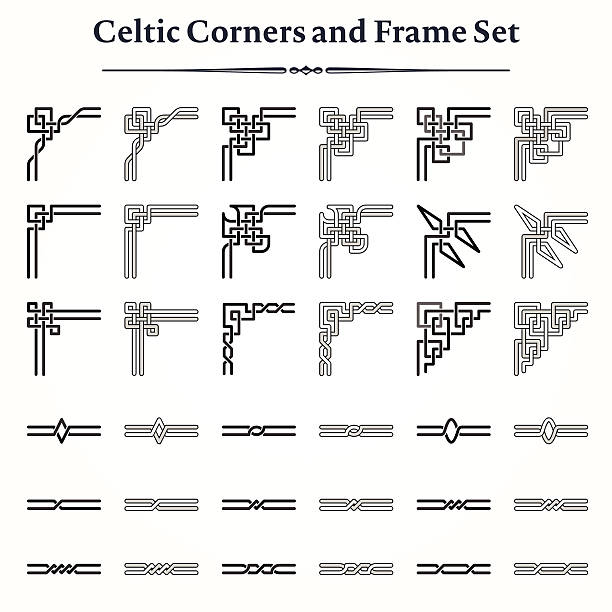 Set of Celtic Corners and Frames Set of decorative Celtic corners and borders models. Choose the corners and the borders to create your own frames. Easy to recolor and assemble. 16 style of corners and 18 style of border lines. celtic knot stock illustrations