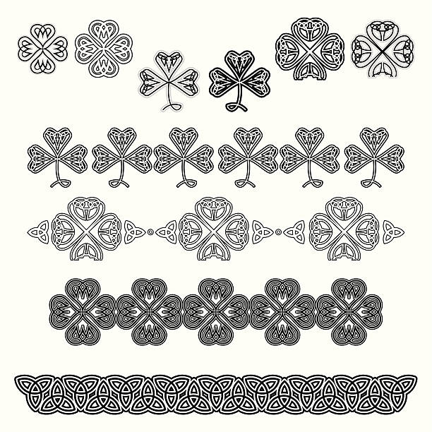 set of celtic design elements (black&white) - celtic tattoos stock illustrations, clip art, cartoons, & icons