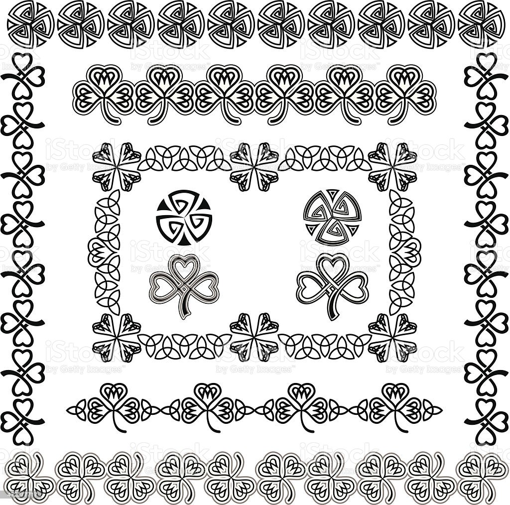 Set of Celtic Design Elements (Black&White) vector art illustration