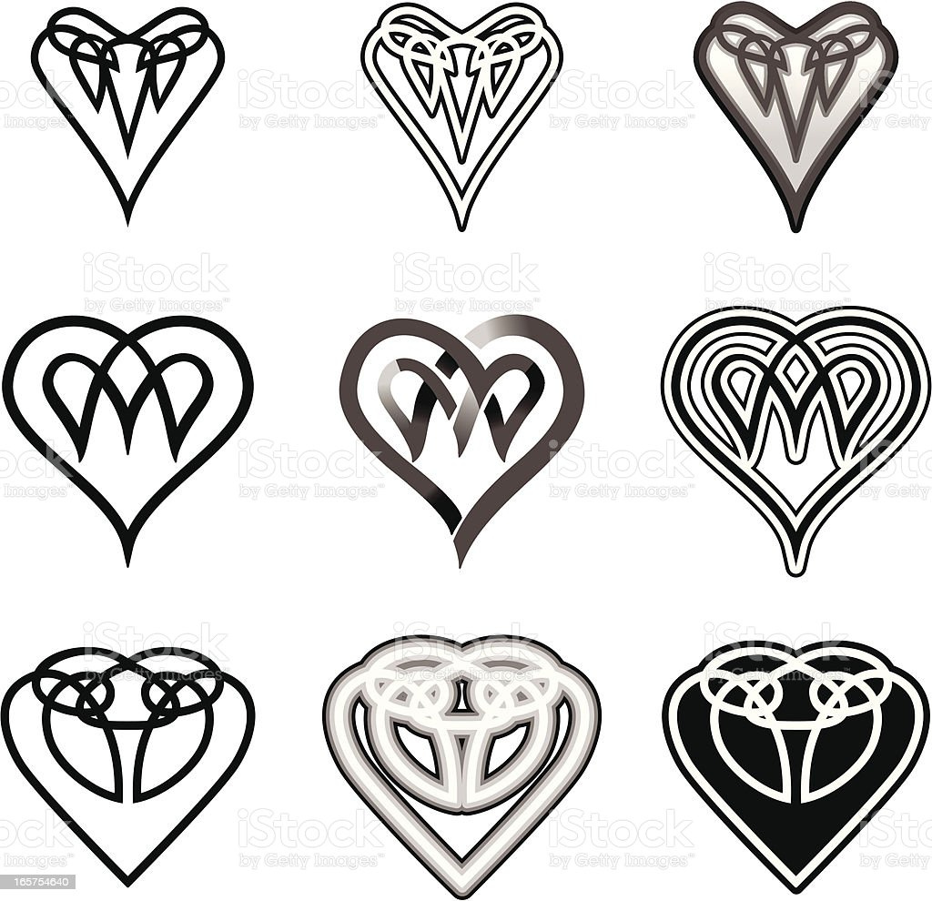 Set of Celtic Hearts (Black&White) royalty-free stock vector art
