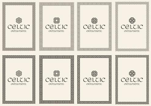 Set of celtic knot braided frames bordesr ornaments. A4 size.
