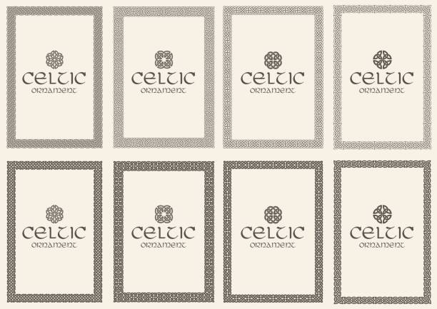Set of celtic knot braided frames bordesr ornaments. A4 size. Set of celtic knot braided frames bordesr ornaments. A4 size. Vector illustration. celtic style stock illustrations