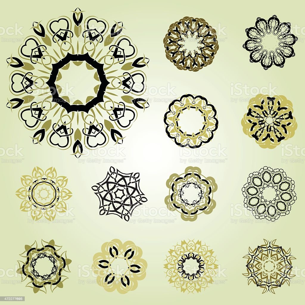Set of celtic knotworks vector art illustration