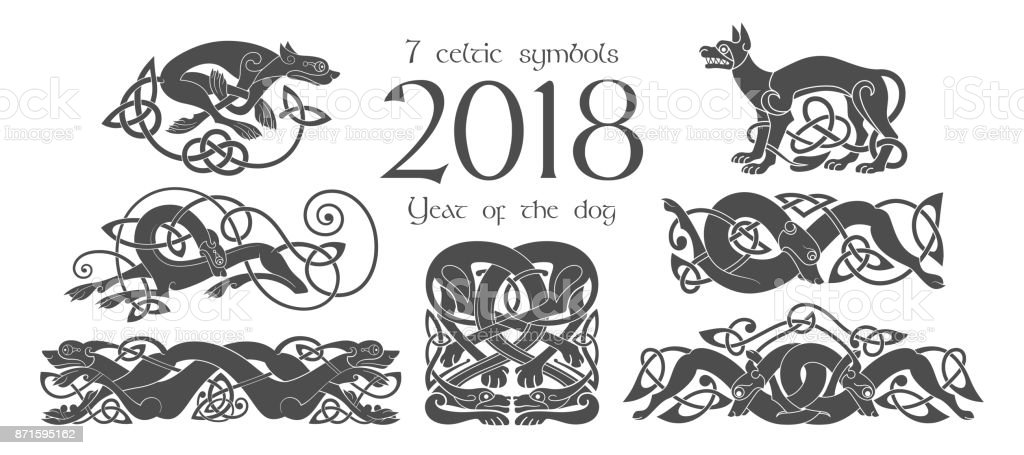 Satz Von Keltischen Symbolen Von Hunden Designelemente Im Tribalstil ...