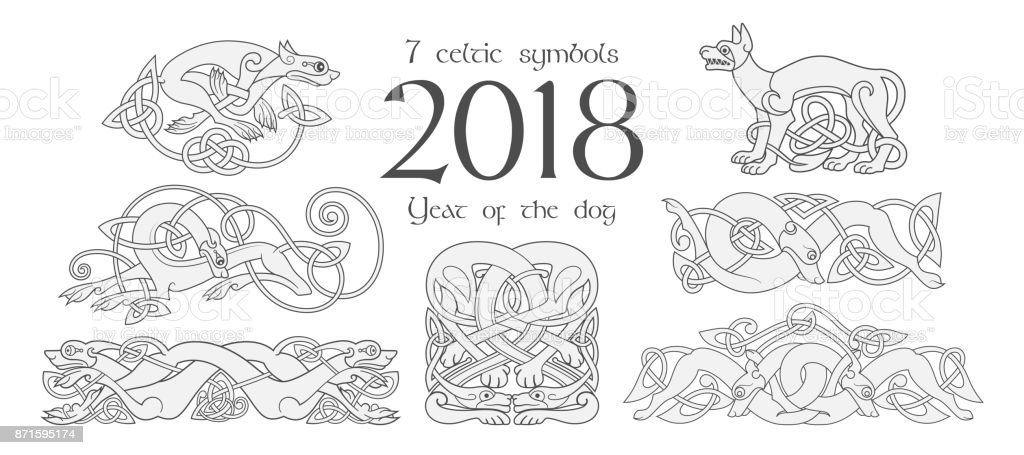 Ilustración de Conjunto De Símbolos Celtas De Los Perros Elementos ...