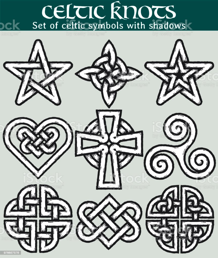 set of celtic symbols with shadows stock vector art more images of