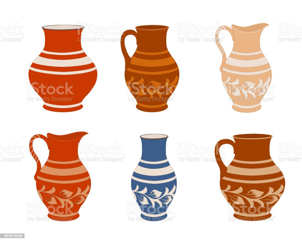 Satz Von Keramik Geschirr Kollektion Kruge In Verschiedenen Variationen Rustikale Keramik Geschirr Bunte Vektorillustration Stock Vektor Art Und Mehr Bilder Von Alt Istock