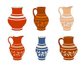 Set of ceramic crockery. Collection jugs in different variation. Rustic pottery utensils, colorful vector illustration.