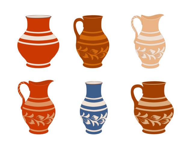 ilustraciones, imágenes clip art, dibujos animados e iconos de stock de juego de vajilla de cerámica. jarros de colección en diferentes variaciones. utensilios de cerámica rústica, ilustración de vectores coloridos. - alfarería