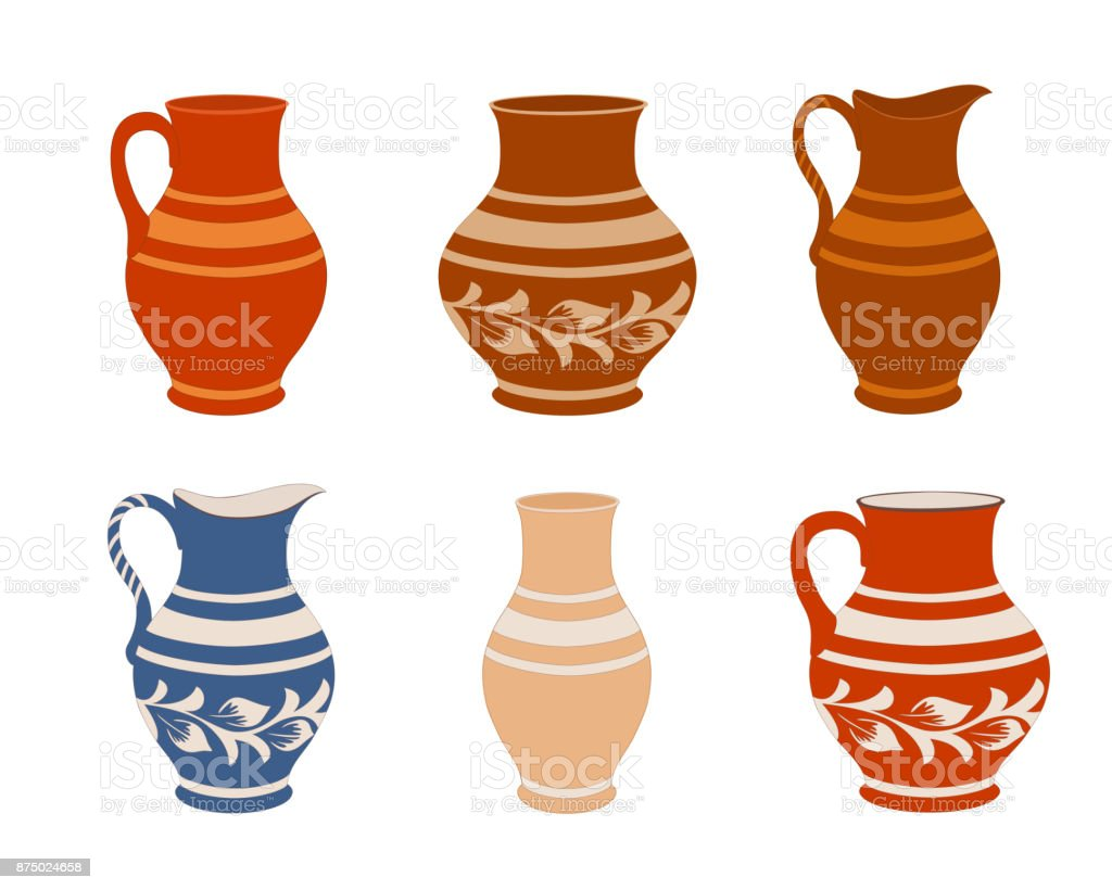 Set of ceramic crockery. Collection jugs in different variation. Rustic pottery utensils, colorful vector illustration. vector art illustration