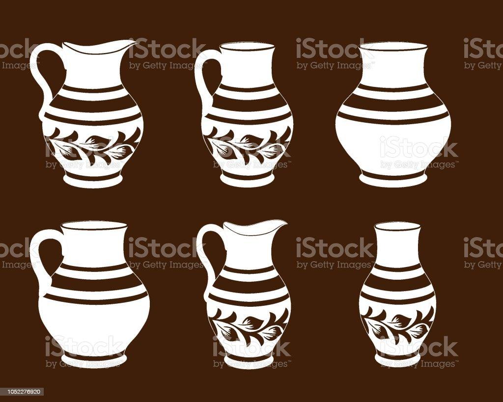 Satz Von Keramik Geschirr In Braunen Und Weissen Farben Sammlung Kruge Rustikale Keramik Geschirr Stock Vektor Art Und Mehr Bilder Von Alt Istock