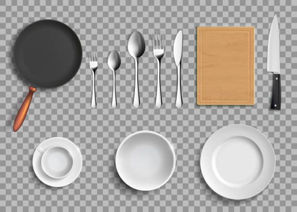 stockillustraties, clipart, cartoons en iconen met set keramische platen en keukengerei. - gedekte tafel