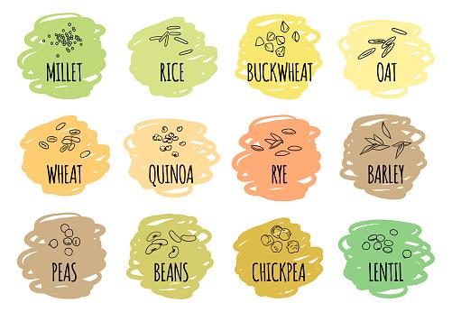 Set of cereals, grains and legumes