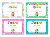set of Certificates kindergarten and elementary, Preschool Kids Diploma certificate pattern design template, Diploma template for kindergarten students, Certificate of kids diploma
