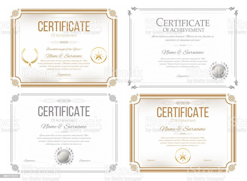 Set of certificates of appreciation. Award certificate, diploma template in retro style