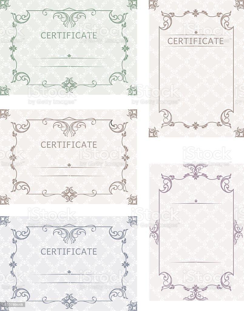 Ein Satz Von Geschenkkarten Vorlage Zertifikate Und Diplome ...