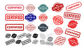 Set of certified rubber stamp. Grunge red, black badge with certified text in frame or round. Rectangular border. Certification icon or seal with scratches. Vector isolated on white background.