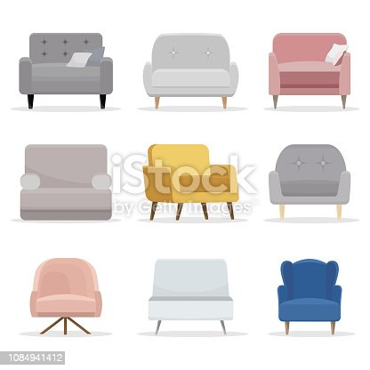 Set of chair. Collection of chair in flat cartoon style. Vector illustration