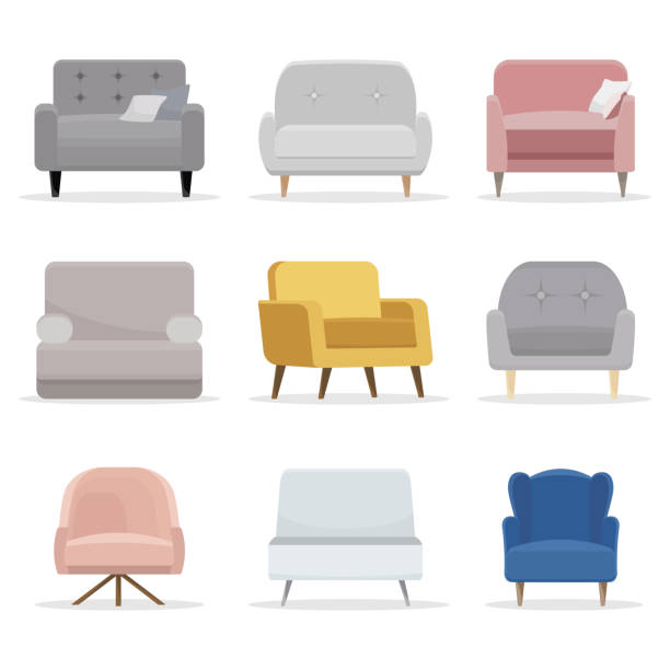 Set of chair. Collection of chair in flat cartoon style. Vector illustration Set of chair. Collection of chair in flat cartoon style. Vector illustration armchair stock illustrations