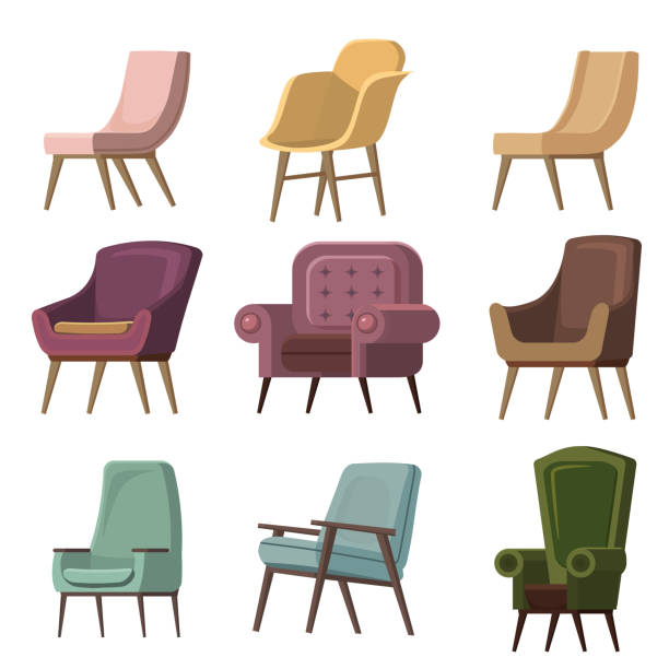 Set of Chair to use in animation, illustration, scene, background, cartoon, etc Set of Chair to use in animation, illustration, scene, background, cartoon armchair stock illustrations