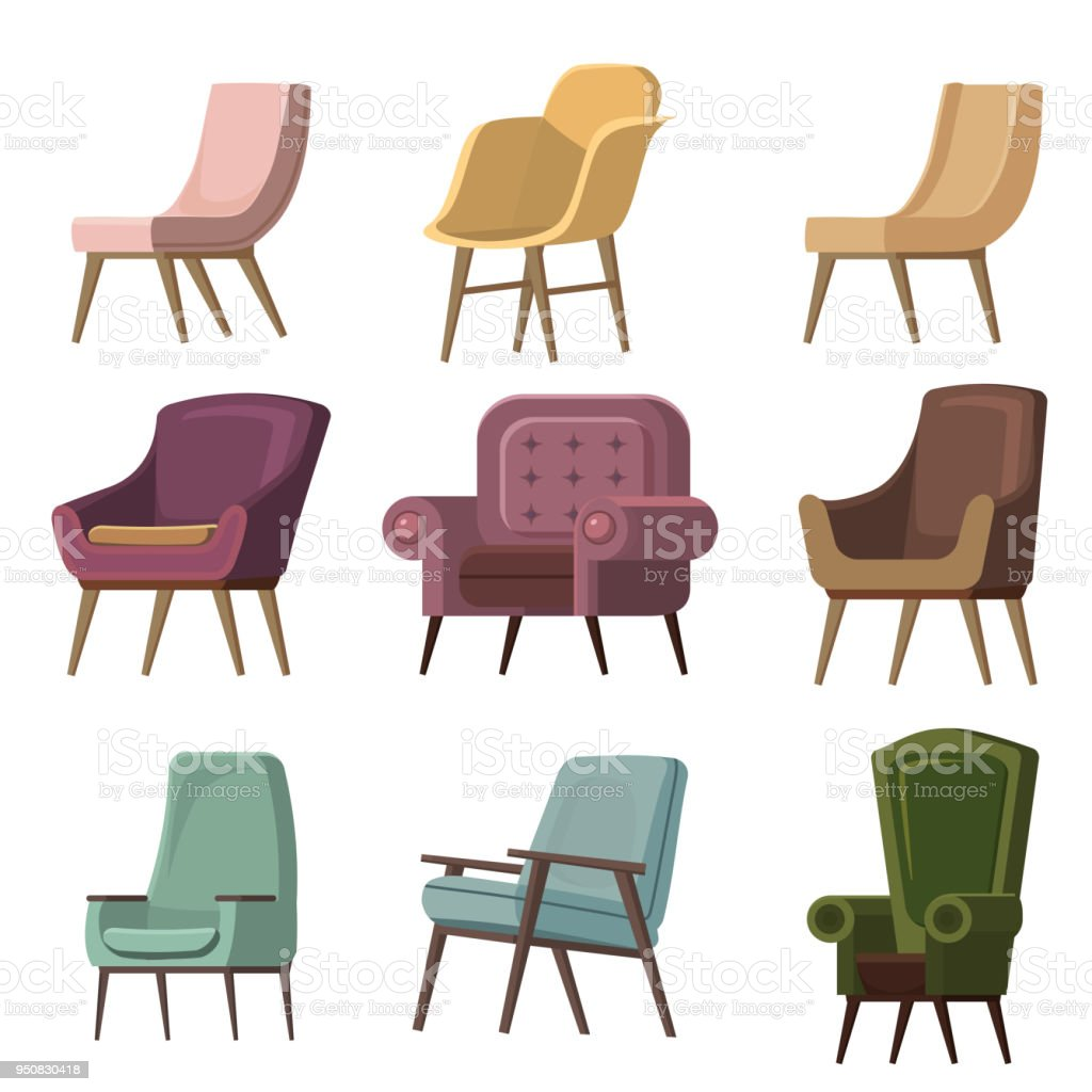 Set of Chair to use in animation, illustration, scene, background, cartoon, etc vector art illustration