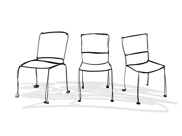 stuhlreihen, doodle-line-kunst, möbel, design, inneneinrichtung, abstract - stuhllehnen stock-grafiken, -clipart, -cartoons und -symbole
