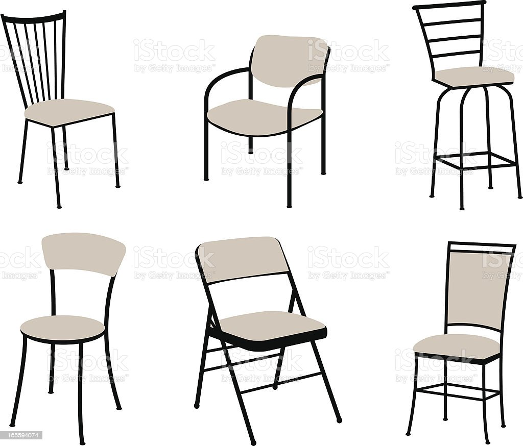 Set of Chairs vector art illustration