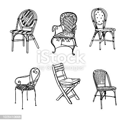 Set of chairs. Vector sketch.