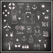 Set of chalk board vector travel elements