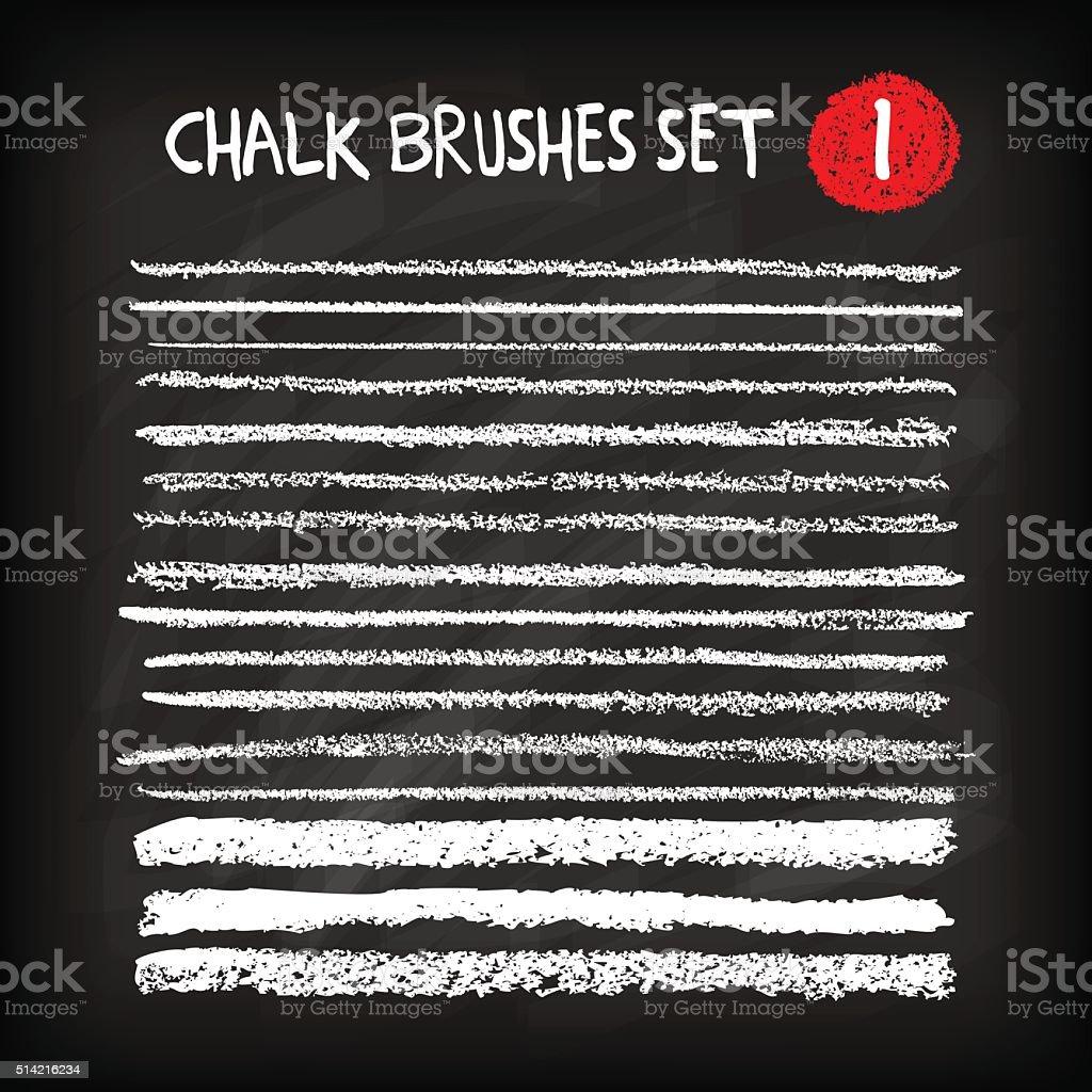 Set of chalk brushes vector art illustration