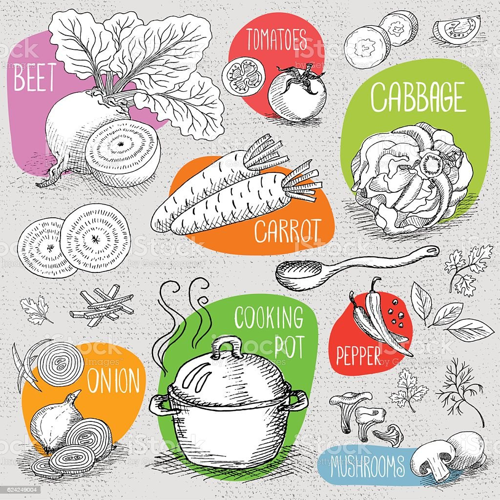 Set of chalk drawn on a blackboard food, spices. vector art illustration