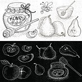 Set of chalk hand drawn, in sketch style, food and spices, black and white chalkboard background. Sweet Set with honey, apples, pear and funny bee. Hand drawn vector illustration.