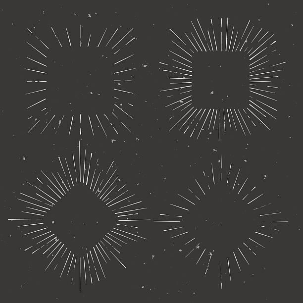 Satz von vintage-Eckige und rhombus hand drawn ray Bilder – Vektorgrafik