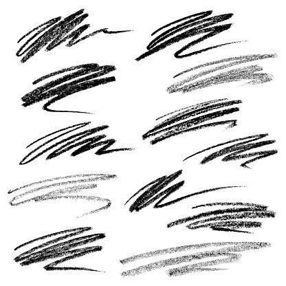 Set of chalk strokes